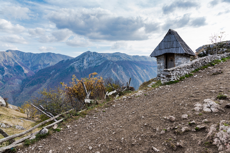 Outdoor toilet with view in Lukomir, remote village in Bosnia.