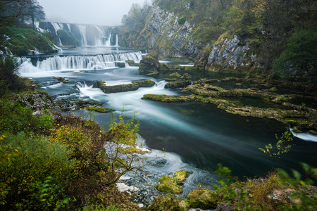 Long exposure image of Strbacki buk waterfall in Bosnia.