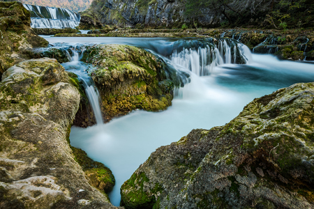 Beautiful Strbacki buk waterfall in Una Park,Bosnia and Herzegovina. Imagens