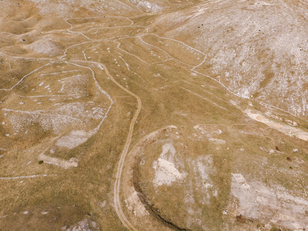 Rural grassland and steppe, aerial bird eye view,Bosnia.