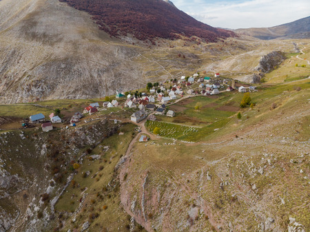 Lukomir remote village in rural Bosnia, aerial drone view.