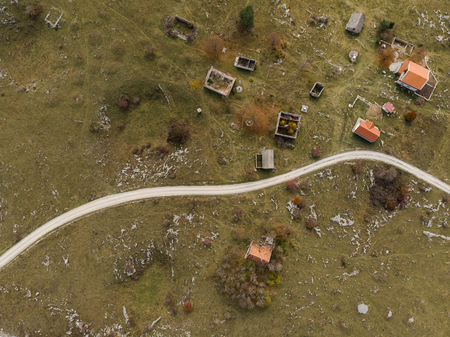 aerial view over village destroyed by Balkan war, Bosnia.