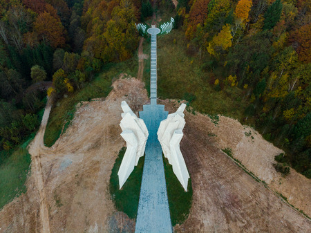 Aerial view of Tjentiste World War II monument, Bosnia .