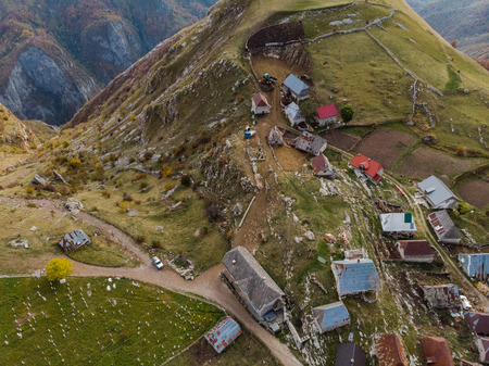 Aerial view over Lukomir village in remote Bosnia.