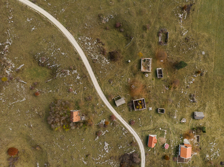 Village in Bosnia destroyed by war and bombing,Bosnia. Aerial drone view.