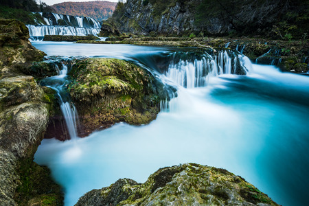 Strbacki buk waterfall on river Una in Bosnia and Croatia border. Long exposure.