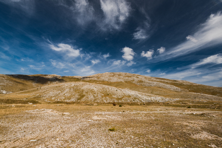 Horizon and blue sky in rural Bosnia steppe.