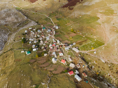 Lukomir, remote village in Bosnia mountains, birds eye view from above.