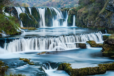 Strbacki buk waterfall in Bosnia Una National Park. 写真素材 - 111423874