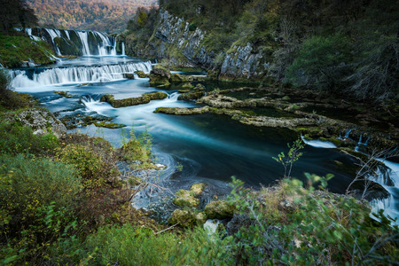 Strbacki buk waterfall on Una river, Bosnia . Long exposure. 스톡 콘텐츠