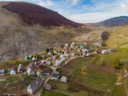 Aerial view over Lukomir village in remote Bosnia.