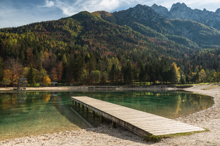 Picturesque Jasna lake at sunny autumn day,Slovenia.