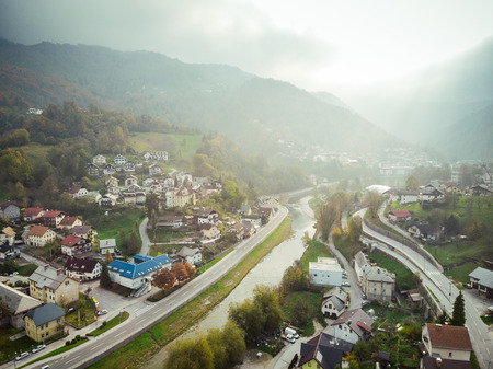 Aerial view of Idrija, small town in western Slovenia. 스톡 콘텐츠