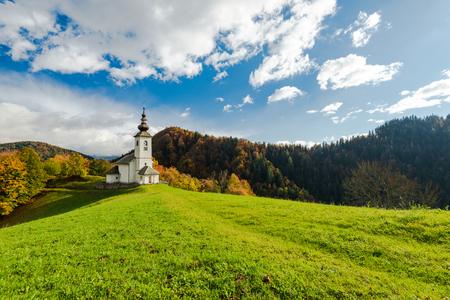Sv. Marko chapel in Lower Danje, Slovenia at autumn colors. Stok Fotoğraf