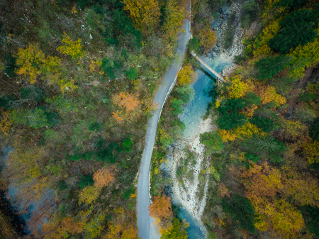 Aerial view of Divje JEzero or Wild Lake in Slovenia thick forest.