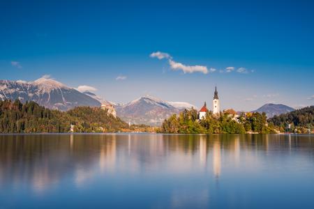 Church on island of lake Bled, long exposure, Slovenia.