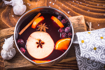 Festive warming mulled wine, Christmas food and drinks.