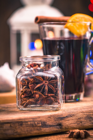 AJar with anise stars, festive spice for mulled wine. Stock Photo