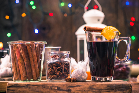 Homemade festive mulled wine, warming at winter days.