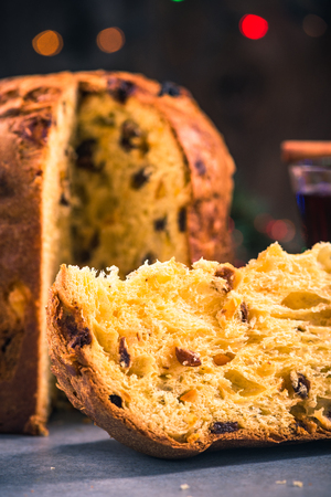 Slice of panettone Christmas festive sweet food.