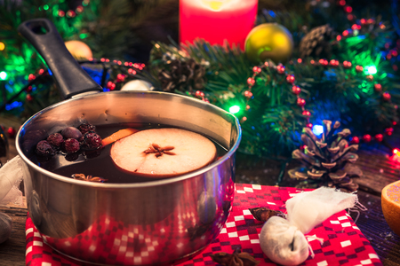 Mulled wine, festive dring for cold winter days. Stock Photo