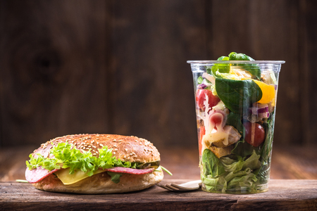 Healthy brunch or meal,salad and bagel.Copy space. Stock Photo