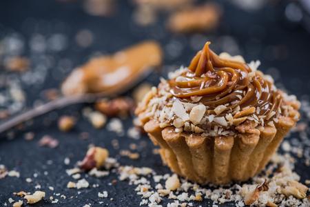 Salted caramel cupcakes,sweet pasrty food.