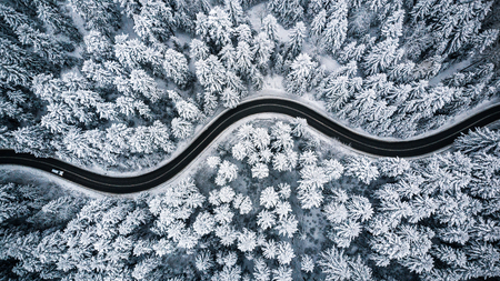 Driving in forest after snowfall, aerial drone view. 免版税图像