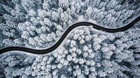 Camino ventoso con curvas en el bosque cubierto de nieve, vista aérea de arriba hacia abajo. Foto de archivo