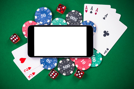 On line gaming mock up template. Casino and poker on mobile device. Stock Photo