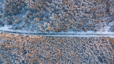 Empty road in winter woods, aerial top down view. Stock Photo