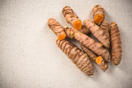 Turmeric or Curcuma whole roots on kitchen cloth.