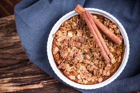 Homemade baked apple with oats. Reklamní fotografie
