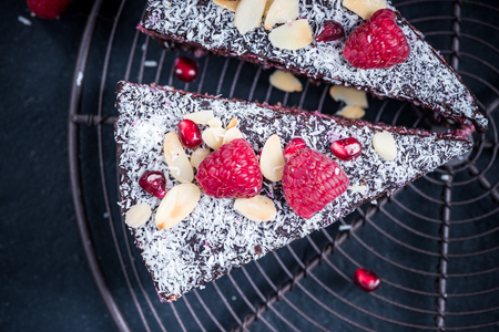 Homemade healthy raspberry and chia cake tarte. 写真素材