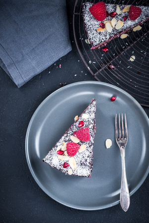Helthy raspberry and chia seed homemade cake or torte.