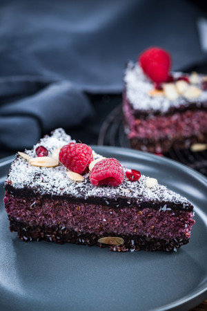 Raspberry and chia seed cake, serving portion.