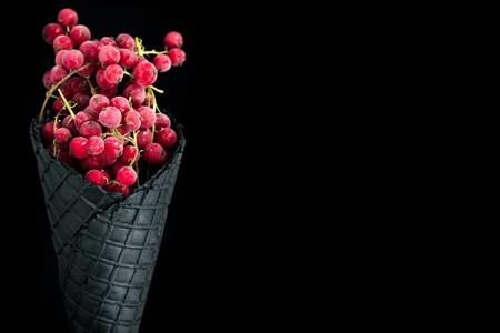 Frozen redcurrant ice cream cone , border background template.