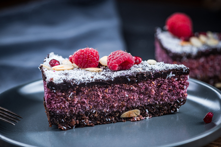 Serving portion of raspberry and chia seed cake.