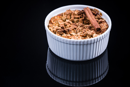 Healthy dessert, baked apple with crunch.