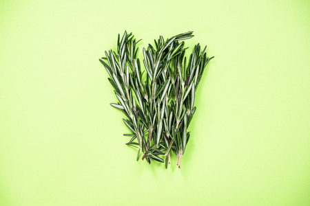 Garden fresh rosemary herb bunch on green background. Stock fotó - 116910993