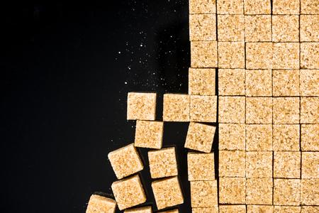 Cane sugar cubes, border background.