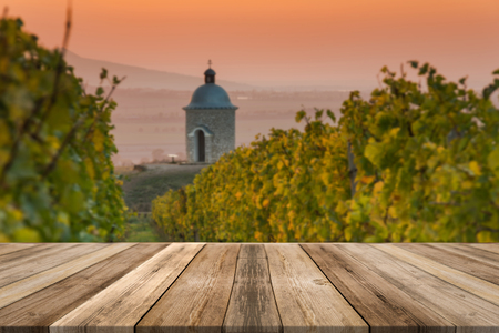 Vineyards in Moravia, wooden boards product display, montage and presentation.