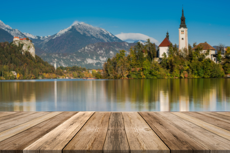 Lake Bled in Slovenia, wood boards product display, montage and presentation.