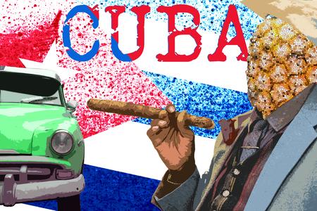 Travel to cuba, modern art zine culture concept. Stock Photo