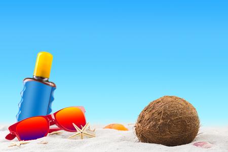 Sunbathing on tropical sandy beach concept, beach a