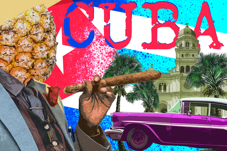 Contemporary art collage, travel to cuba, cine culture.