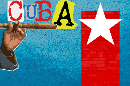 Cuba travel, Contemporary art collage, zine and comics culture style poster. Фото со стока