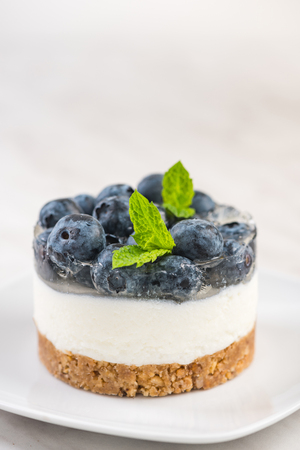 Blueberry cheesecake, serving portion with fresh mint.
