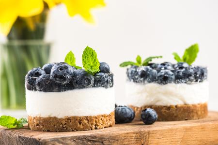 Homemade light blueberry cheesecake. Stock Photo