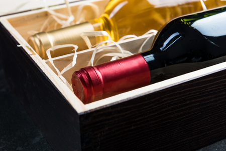 Close view on wine wooden case.